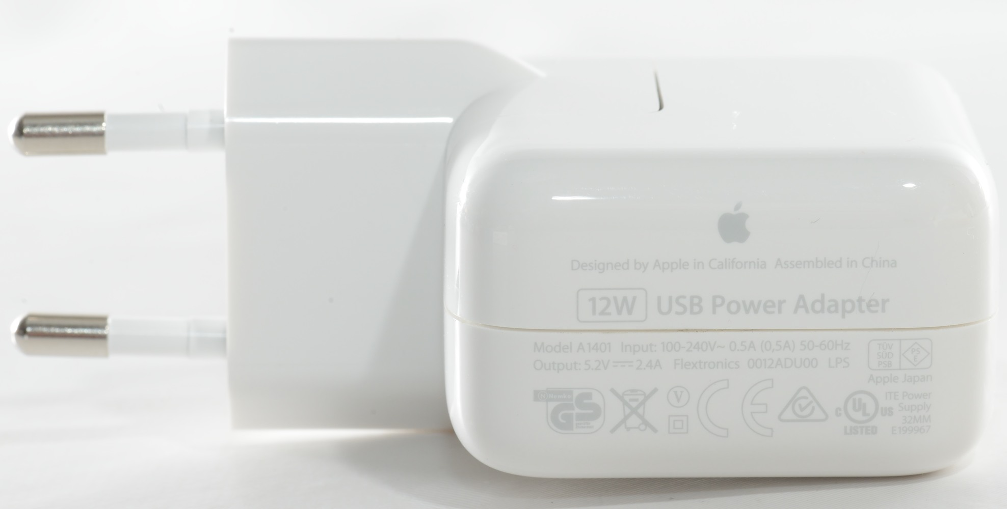 Test of apple 12w usb power adapter for Mac due the box