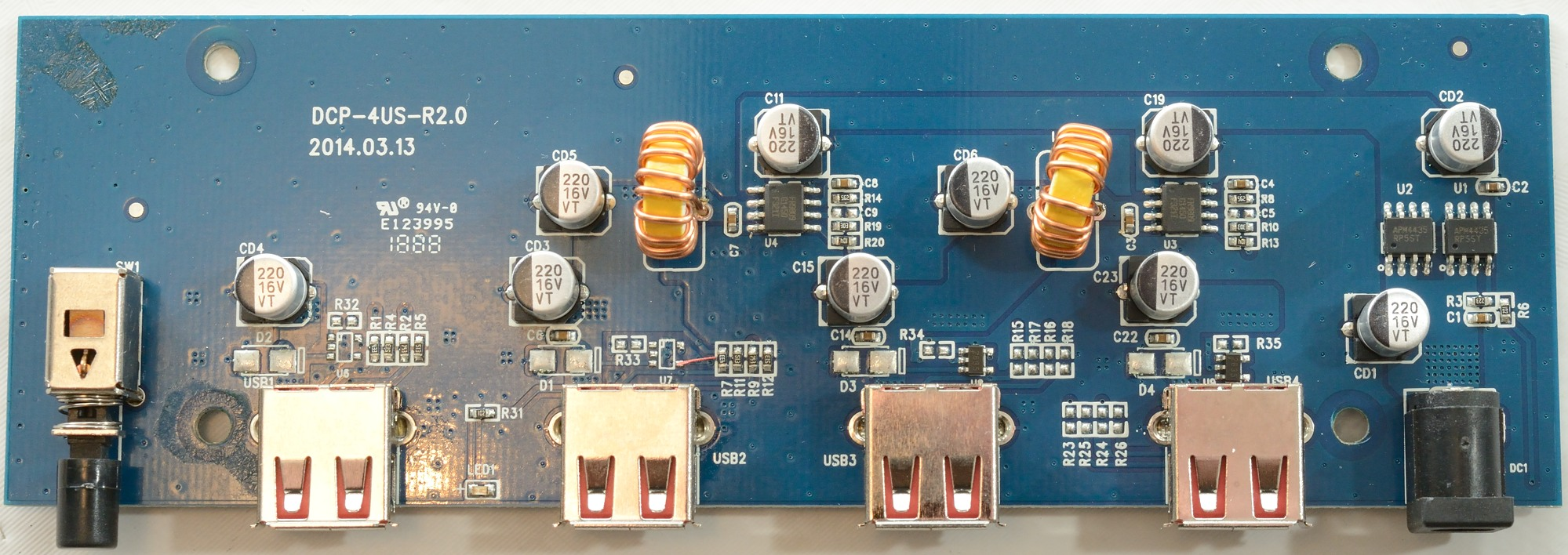 Test Of Orico 4 Port Usb Charging Station Dcp 4us Charger Circuit There Is Two Switchers On The Board U3 U4 That Converts 12v To 5v One Supplies 2a Output And Other 1a