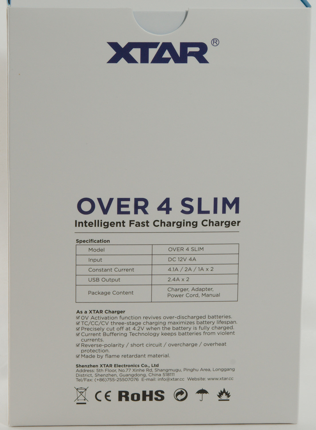 Review Of Charger Xtar Over 4 Slim Fastchargerwithcutoffcircuitpng I Got The In A Cardboard Box With Specifications Printed On It